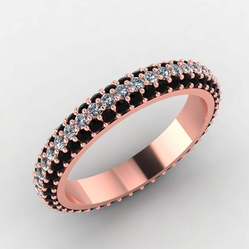 Rose Gold Black Diamond And White Diamond Eternity Band Jewelry
