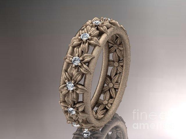 Gold Diamond Flower Wedding Ring Engagement Ring Wedding Band ADLR163