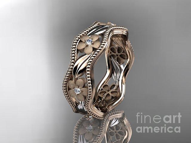 rose gold diamond flower wedding ring engagement ring wedding band adlr191 by anjaysdesigns com. Black Bedroom Furniture Sets. Home Design Ideas