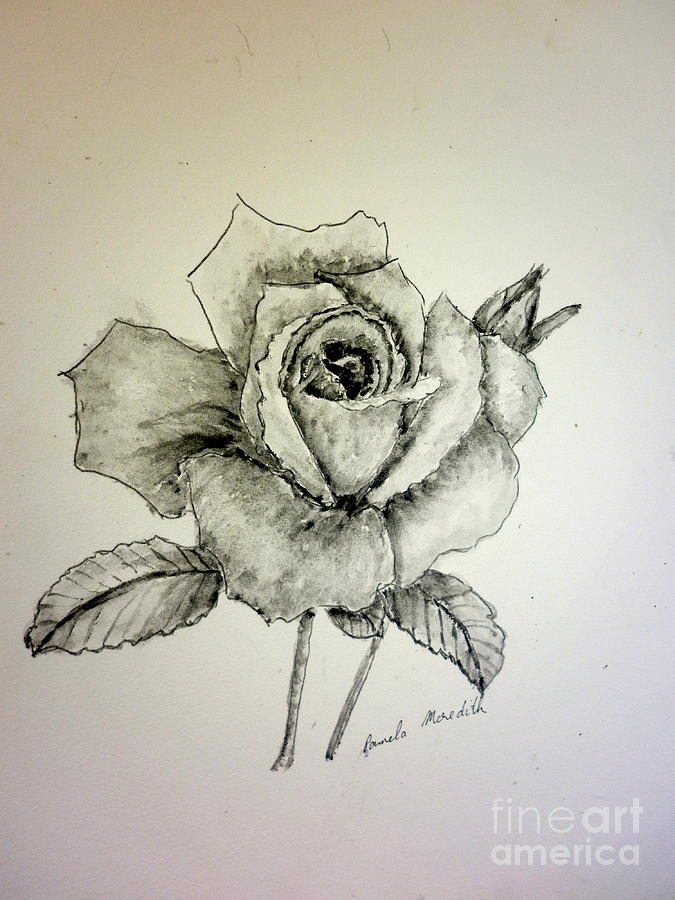 Rose In Monotone Painting