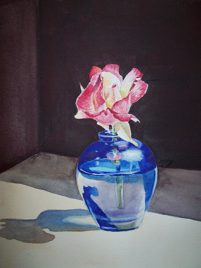 Rose Painting - Rose In The Blue Vase II by Irina Sztukowski