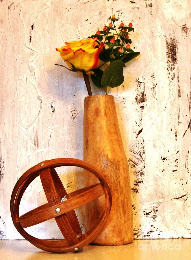 Rose Sphere And Mango Wood Vase Photograph