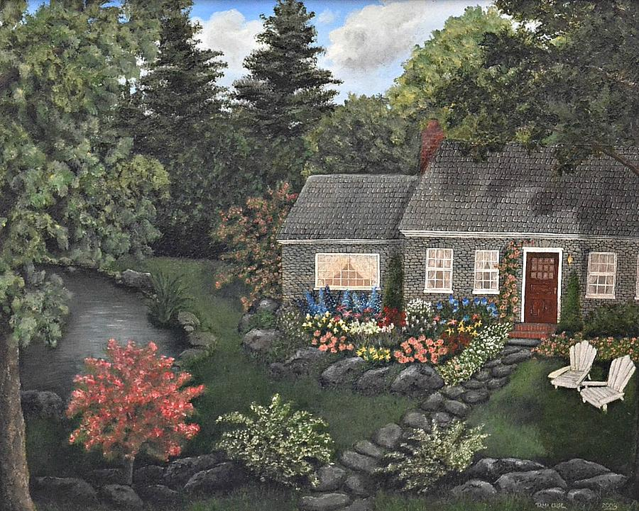 Rose Stone Cottage - Oil Painting Painting  - Rose Stone Cottage - Oil Painting Fine Art Print