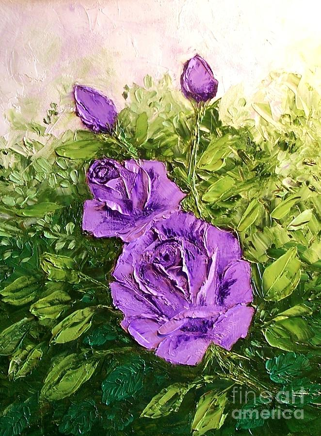 Roses In Lavender Painting