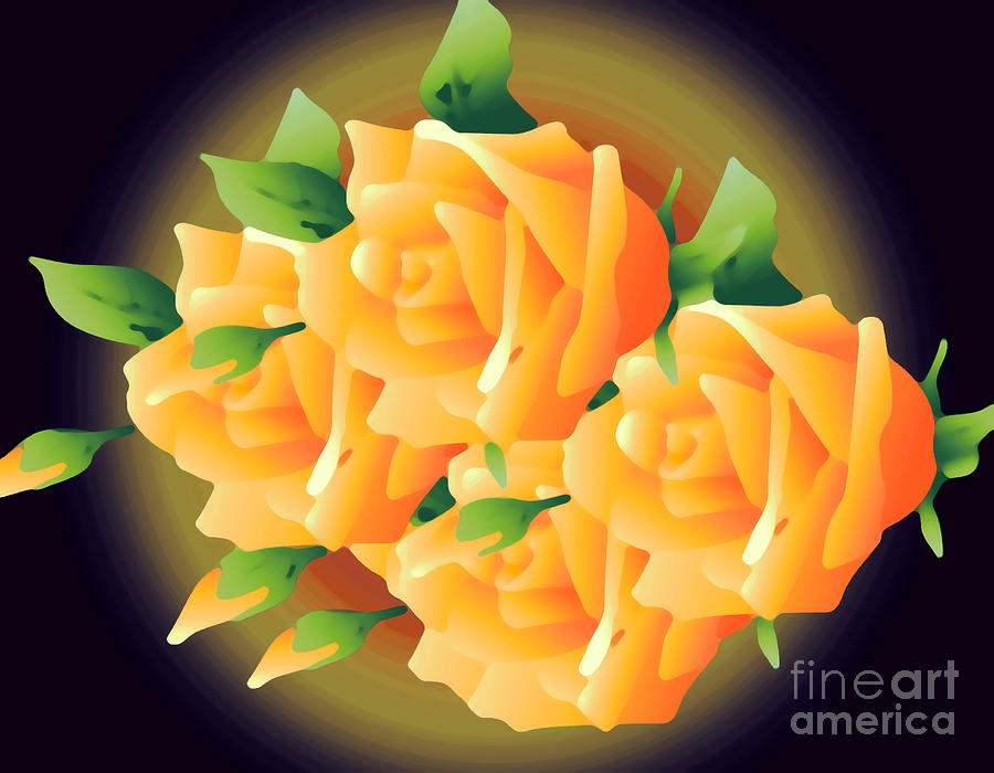 Roses In Sunset Digital Art