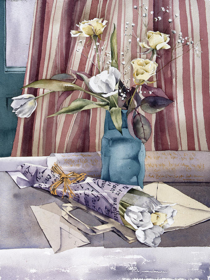 Julia Rowntree Photograph - Roses Tulips And Striped Curtains by Julia Rowntree