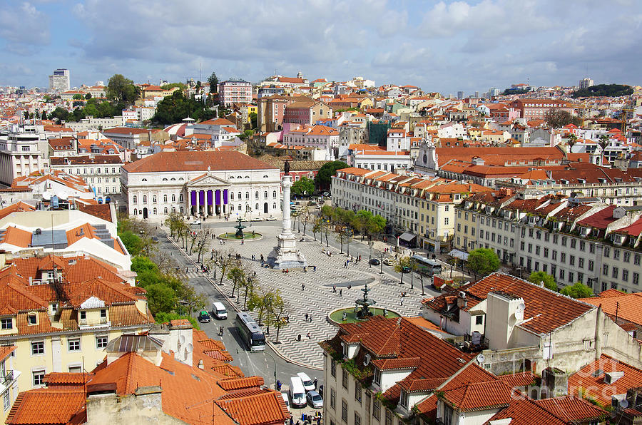 Aerial Photograph - Rossio Square by Carlos Caetano