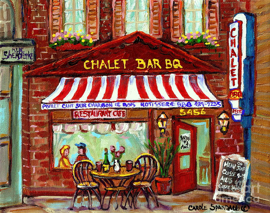 Rotisserie le chalet bbq restaurant paintings storefronts for Diner painting
