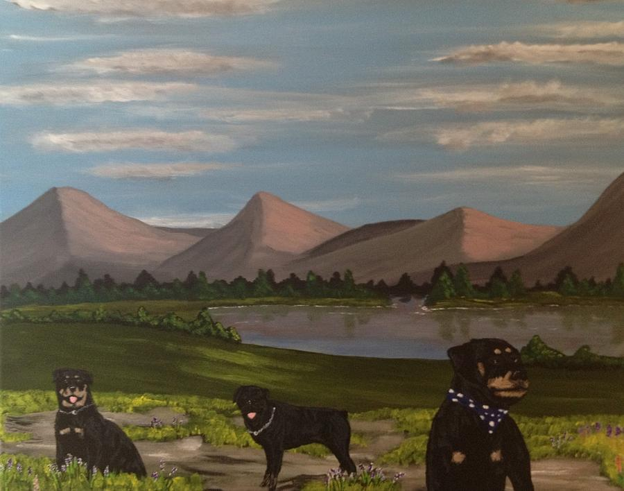 Rotties Day Out Painting  - Rotties Day Out Fine Art Print