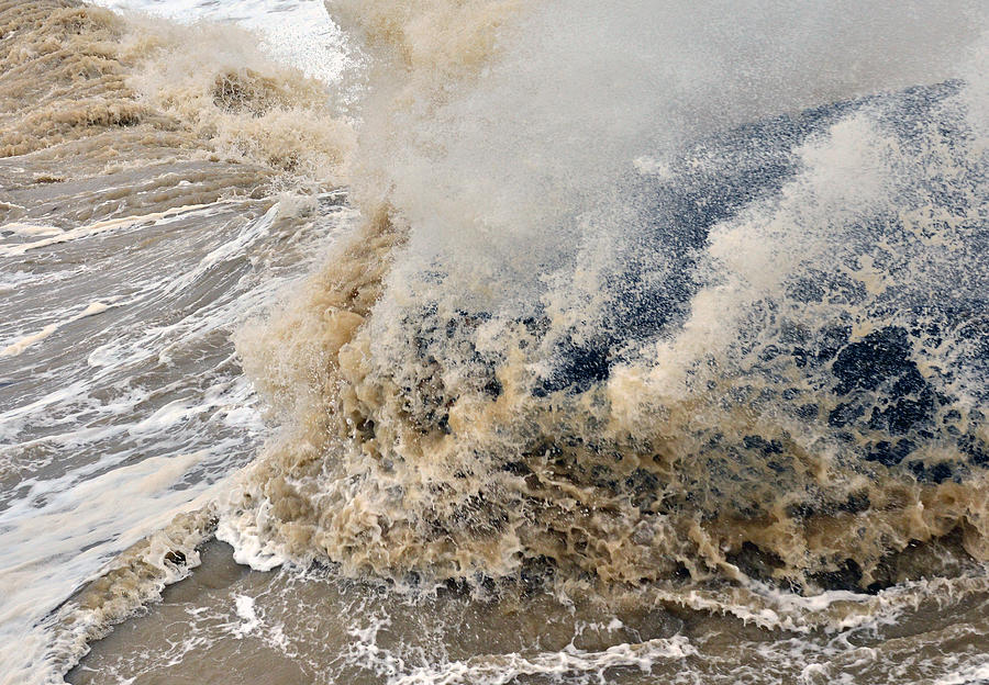 West Pier Brighton Photograph - Rough Sea by Barry Goble