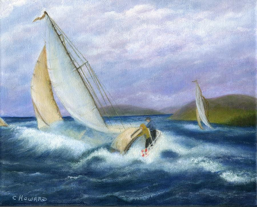 Rough Water Sailing Painting  - Rough Water Sailing Fine Art Print