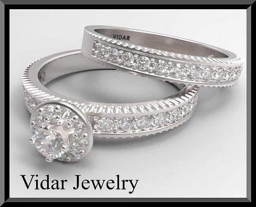 Gemstone Jewelry - Round Diamond 14k White Gold Wedding Ring And Engagement Ring Set by Roi Avidar