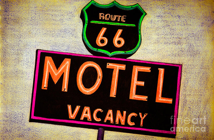 Route 66 Drawing Drawing  - Route 66 Drawing Fine Art Print