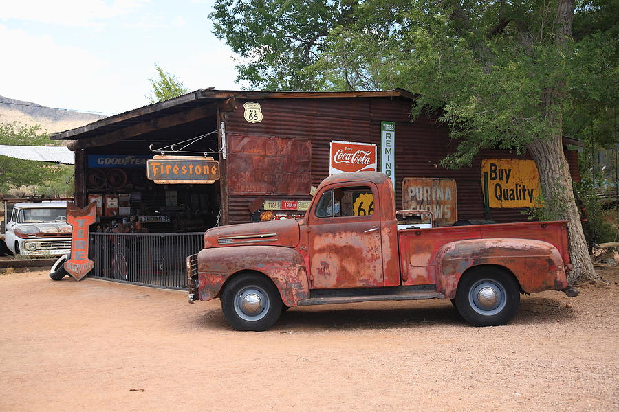 Route 66 Garage And Pickup Photograph