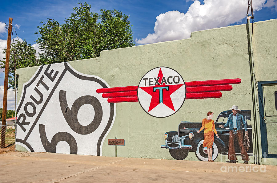 Route 66 mural with texaco sign photograph by sue smith for Route 66 mural