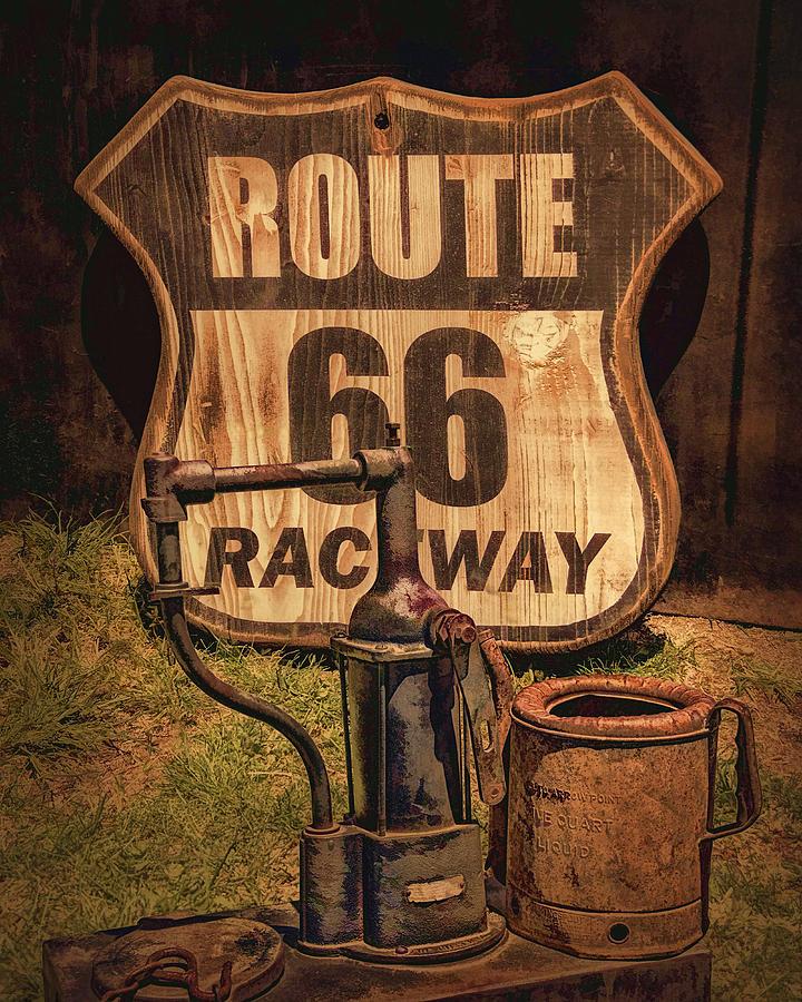 Route 66 Raceway Sign Photograph - Route 66 Raceway by Priscilla Burgers
