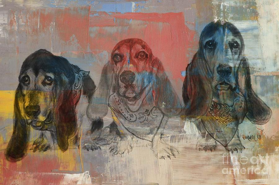 Row Of Basset Hounds Drawing