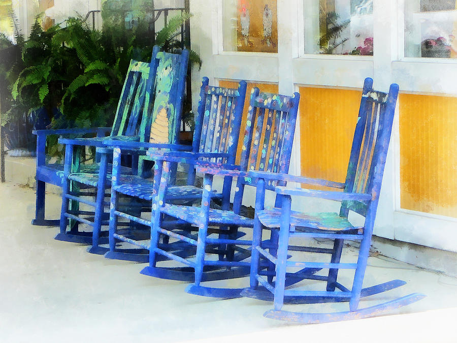 Row Of Blue Rocking Chairs Photograph  - Row Of Blue Rocking Chairs Fine Art Print