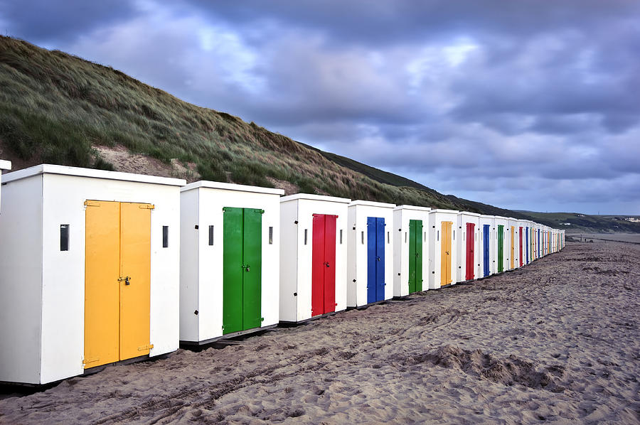 Row Of Colorful Beach Huts  Photograph