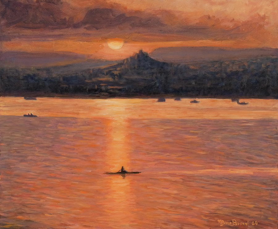 Row Kayak  Sunset  Painting - Rowing In The Sunset by Marco Busoni