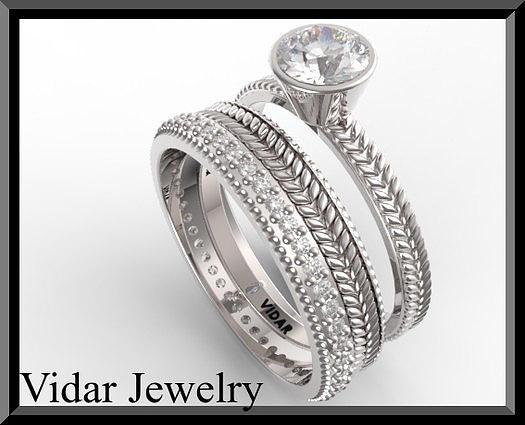 Royal 14k White Gold Diamond Wedding Ring And Engagaement Set Jewelry