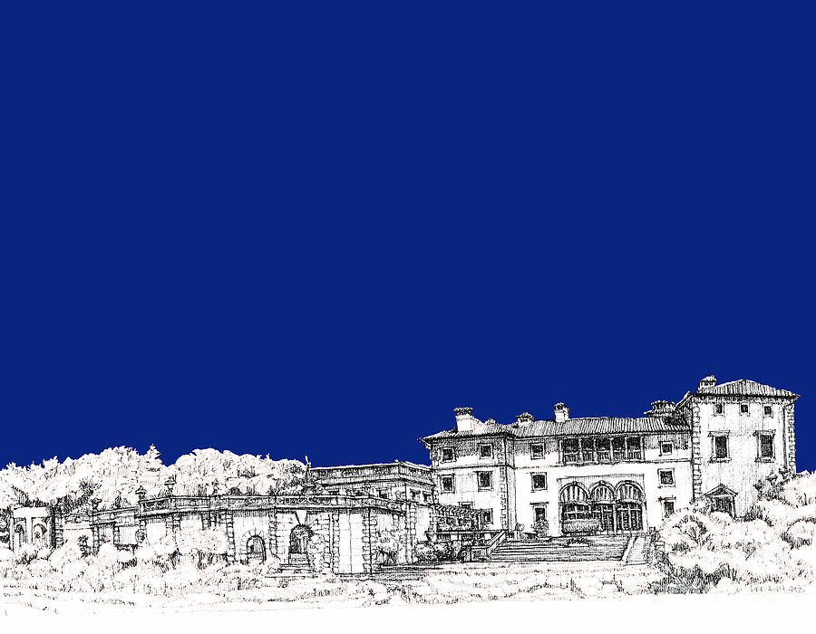 Royal Drawing - Royal Blue Vizcaya In Miami by Building  Art