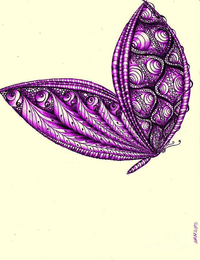 Purple Drawing - Royal Flight by Anca S