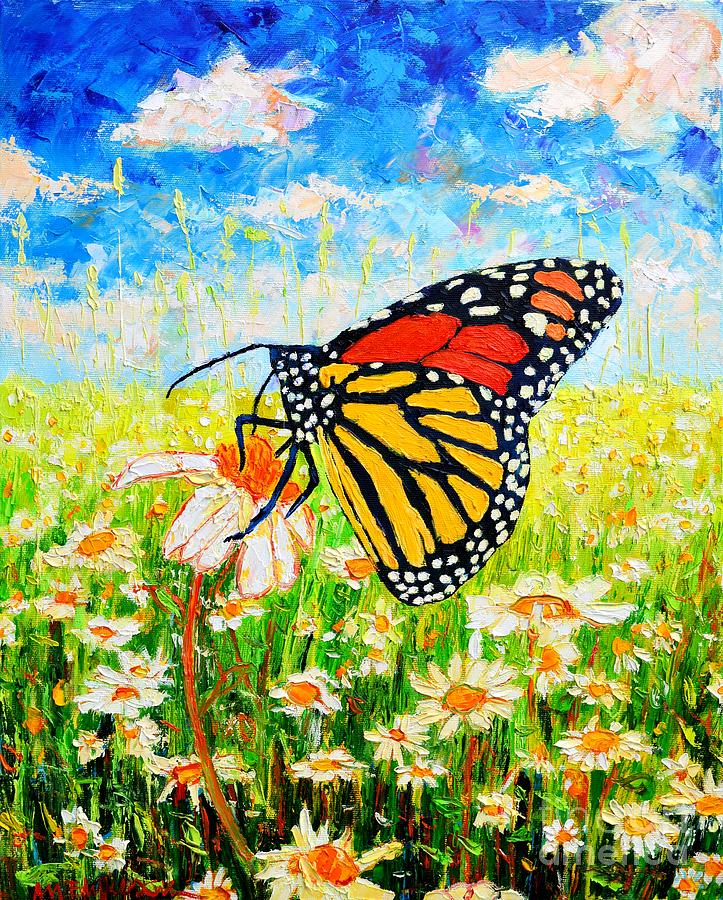 Royal Monarch Butterfly In Daisies Painting  - Royal Monarch Butterfly In Daisies Fine Art Print