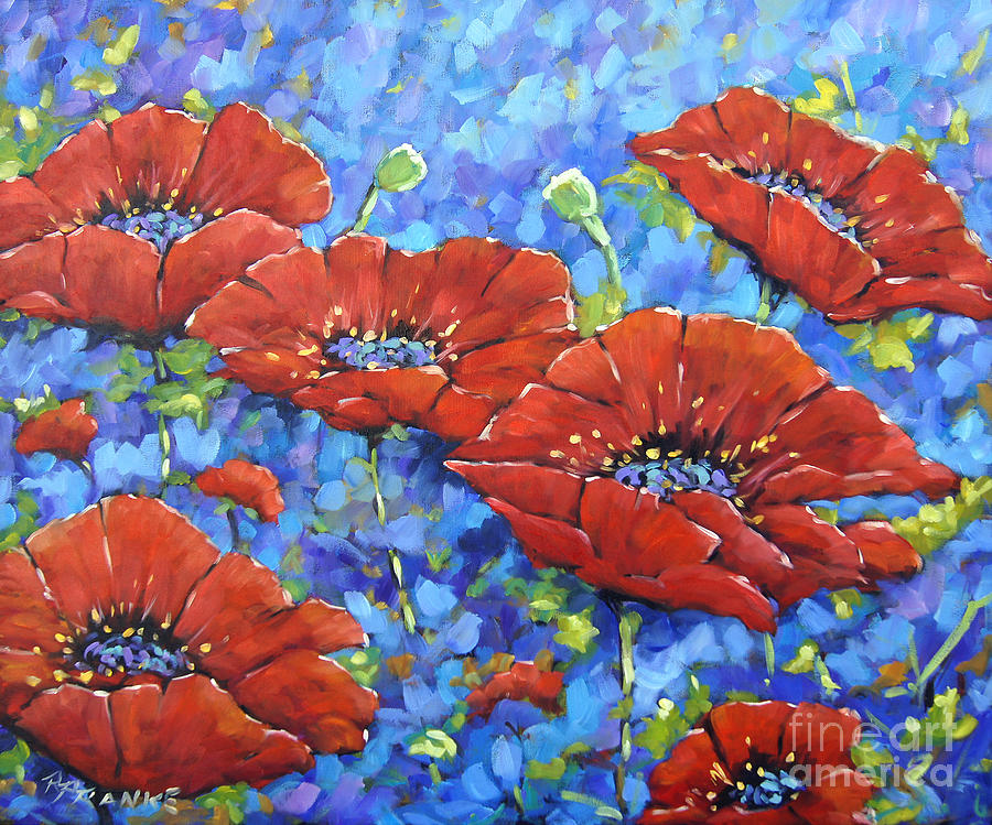 Royal Poppies By Prankearts Painting by Richard T Pranke