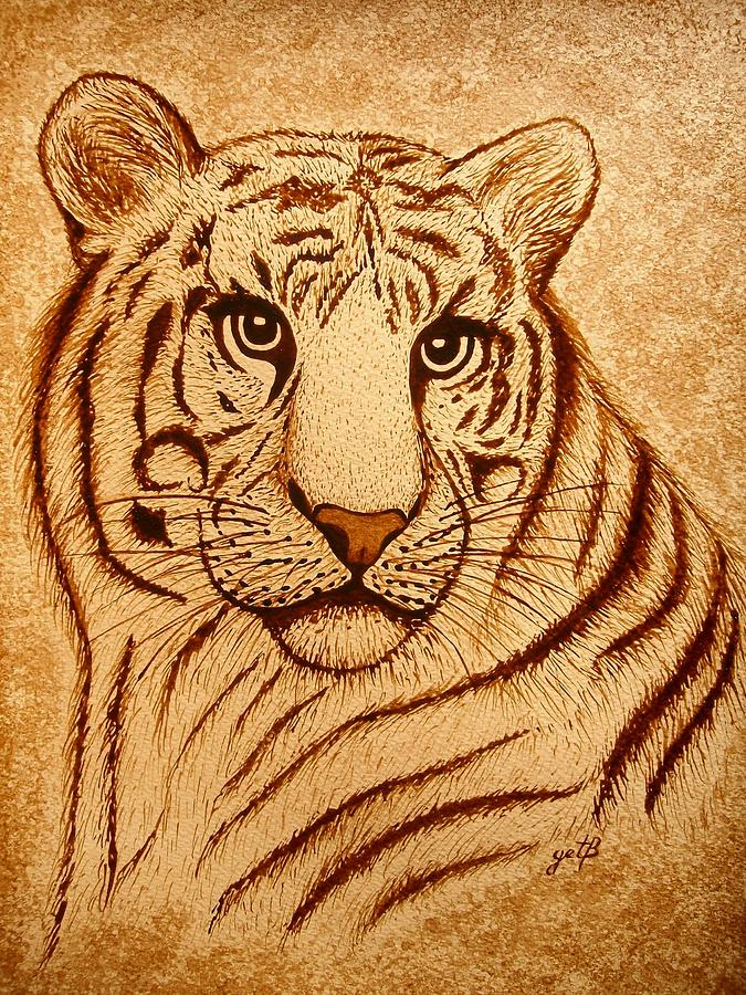 Royal Tiger Coffee Painting Painting By Georgeta Blanaru