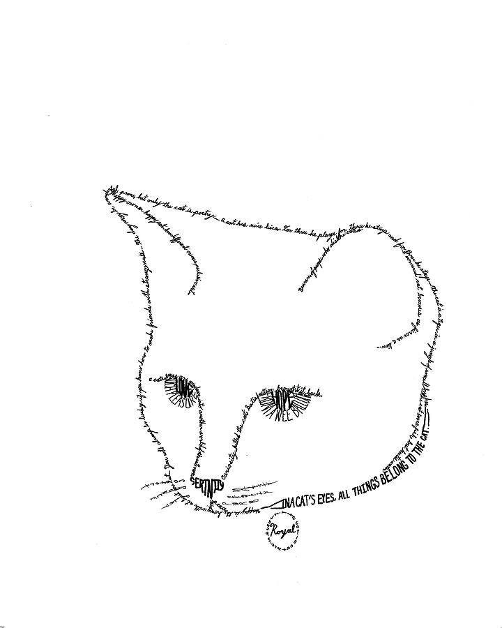 Word Picture Drawing - Royalty In A Word Is Cat by Bethany Martin