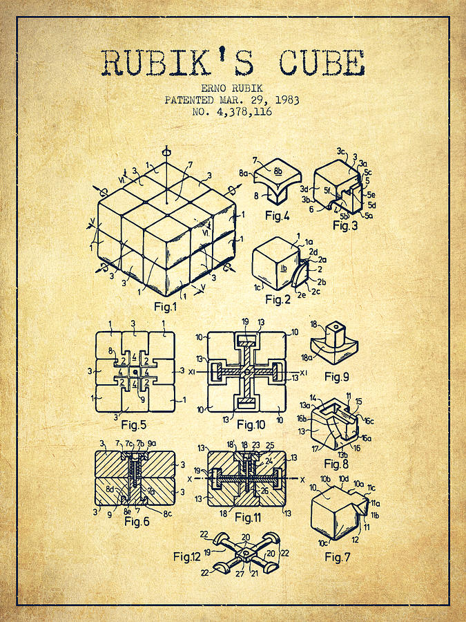 Rubiks Cube Patent From 1983 - Vintage Digital Art