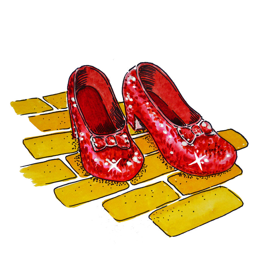 Ruby Slippers The Wizard Of Oz  Painting  - Ruby Slippers The Wizard Of Oz  Fine Art Print