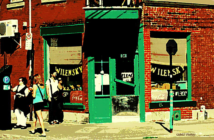 Rue Fairmount Wilensky Diner Cafe Feeding The Parking Meter Montreal Street Scene Carole Spandau Painting  - Rue Fairmount Wilensky Diner Cafe Feeding The Parking Meter Montreal Street Scene Carole Spandau Fine Art Print