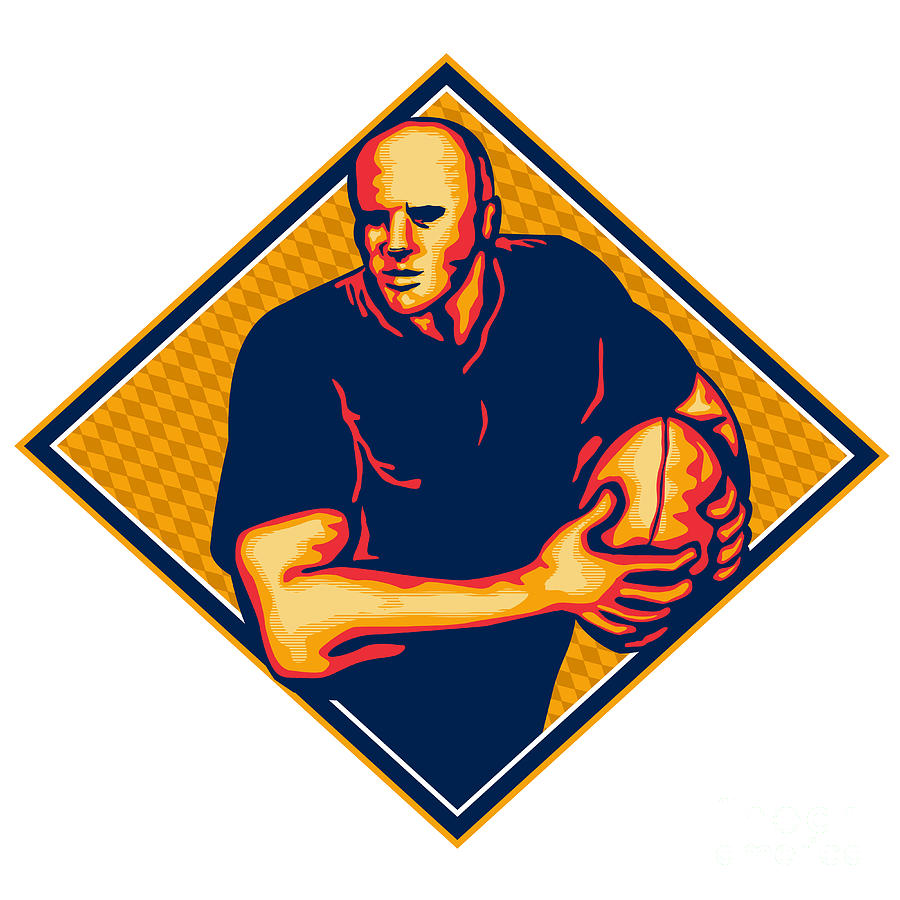 Rugby Player Running Ball Retro Digital Art