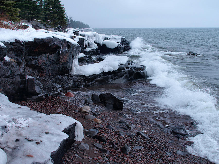 Rugged Shore Winter Photograph