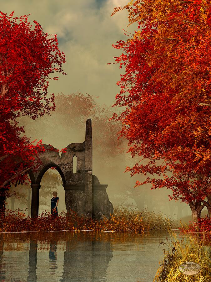 Ruins In Autumn Fog Digital Art  - Ruins In Autumn Fog Fine Art Print