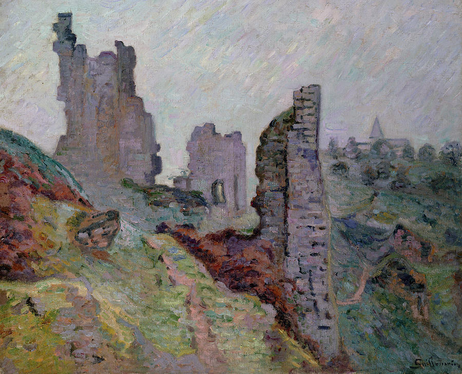 Ruins In The Fog At Crozant Painting