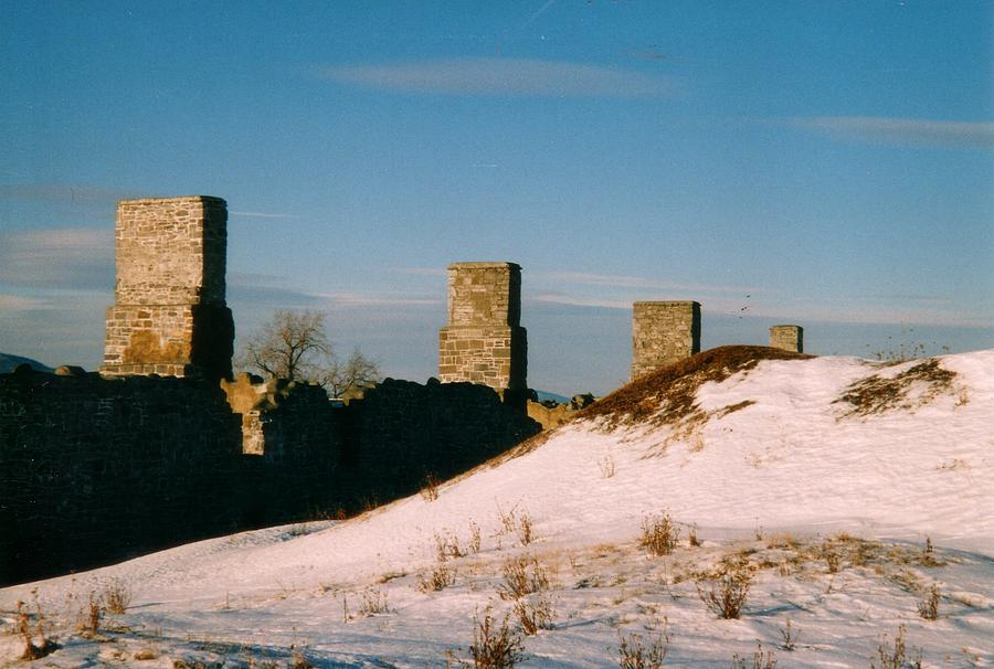 Ruins With Snow And Blue Sky Photograph