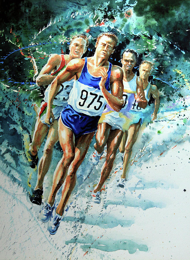 Sports Artist Painting - Run For Gold by Hanne Lore Koehler