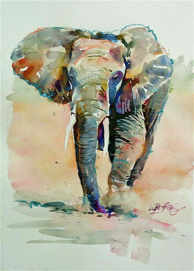 Running Elephant Painting  - Running Elephant Fine Art Print