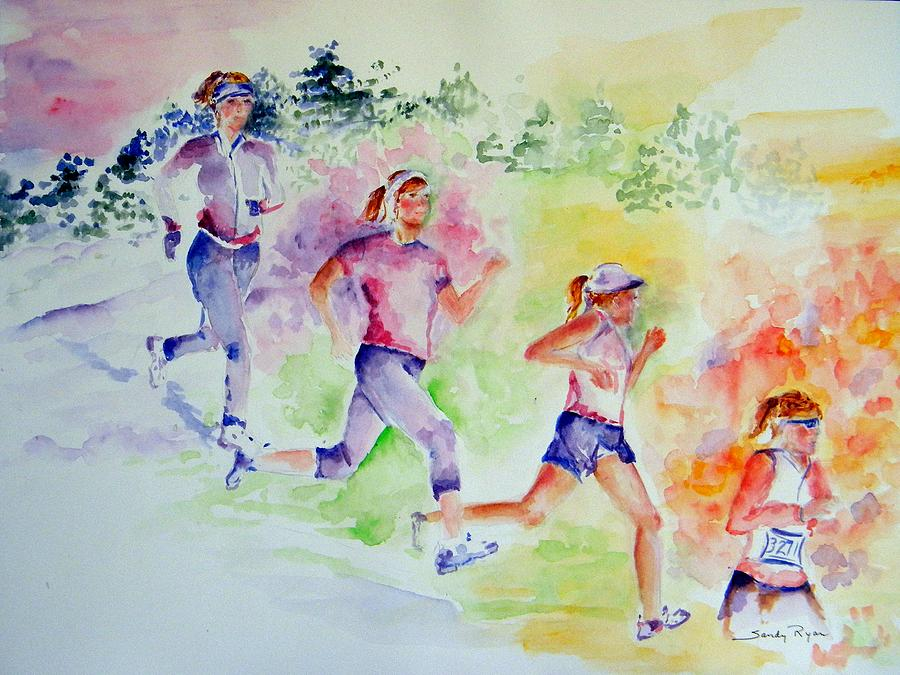 Runner Painting - Running Toward The Marathon by Sandy Ryan