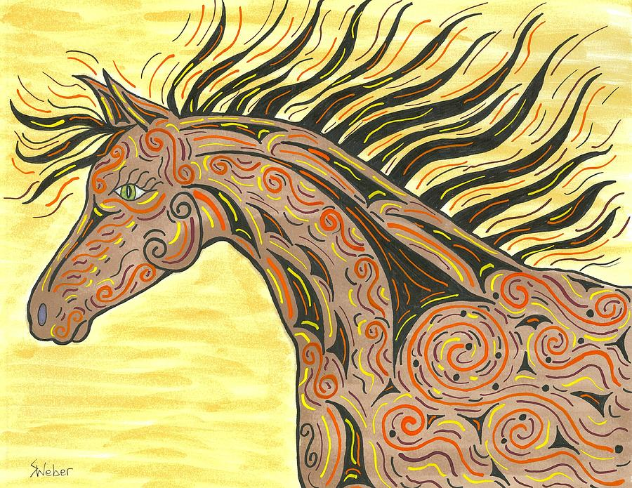 Horse Painting - Running Wild Horse by Susie WEBER
