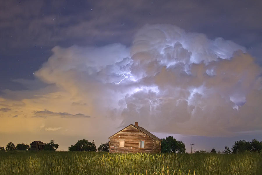Rural Country Cabin Lightning Storm Photograph  - Rural Country Cabin Lightning Storm Fine Art Print