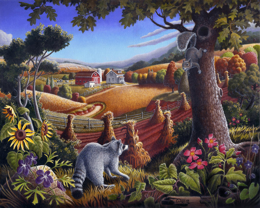 Rural Country Farm Life Landscape Folk Art Raccoon Squirrel Rustic Americana Scene  Painting