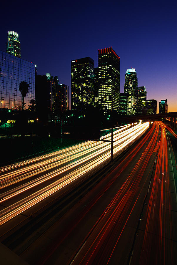 Rush hour harbor freeway los angeles ca photograph by panoramic images - Panoramic les angles ...
