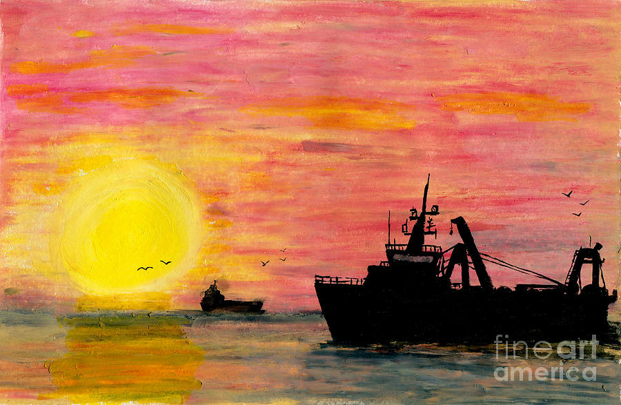 Art Artwork Painting Kyllo Sea Ocean Water Saltwater Boat Ship Blue Yellow Bird Birds Sunset Sunrise Silhouette Tanker Sun Impasto Oil Pastel Mast Reflection Day Peace Peaceful Calm Calming Relax Relaxed Relaxing Restful Quiet Diesel Lighthouse Fishing Trawl Trawler Rush Hour Evening  Painting - Rush Hour by R Kyllo