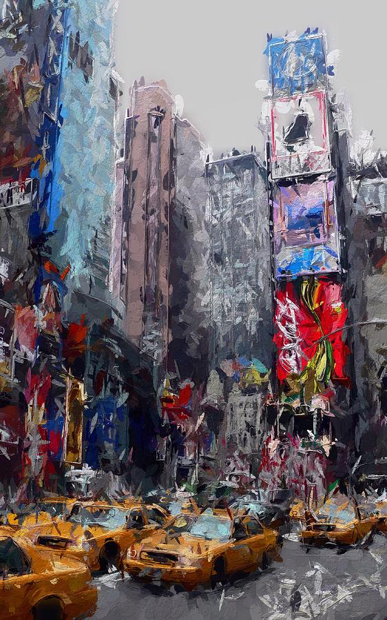 New York Cab Yellow Times Square Rushhour Cars Taxi Urban City Busy Street Color Colorful Expressionism Impressionism Painting  Painting - Rushhour by Stefan Kuhn