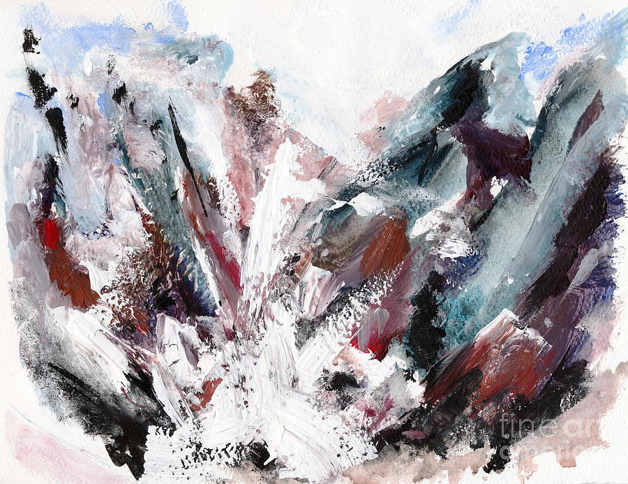 Rushing Down The Cliff Painting  - Rushing Down The Cliff Fine Art Print