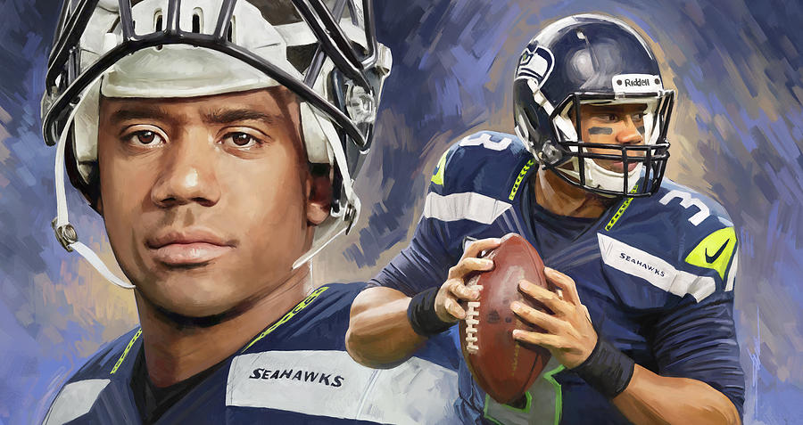 Russell Wilson Artwork Painting By Sheraz A